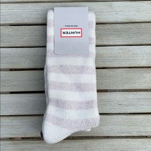 Hunter striped wool over the knee socks